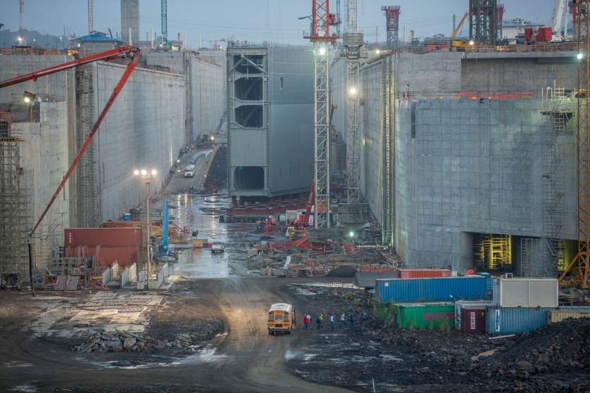The final  lock gate waits to be installed on the Pacific side of the   Panama Canal Expansion project. April 23, 2015.